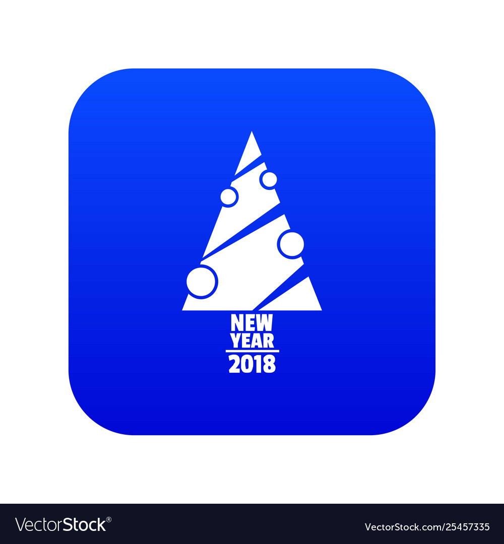 Modern Christmas Tree Icon Blue Royalty Free Vector Image