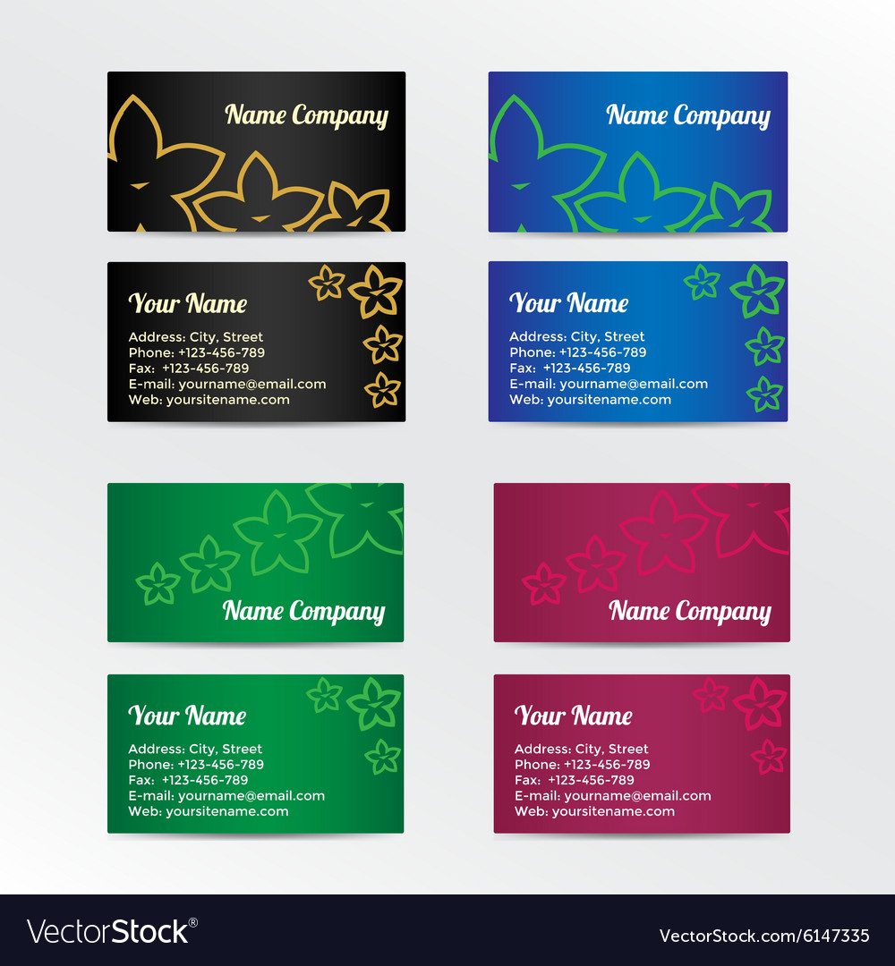 Set of colorful business card with abstract