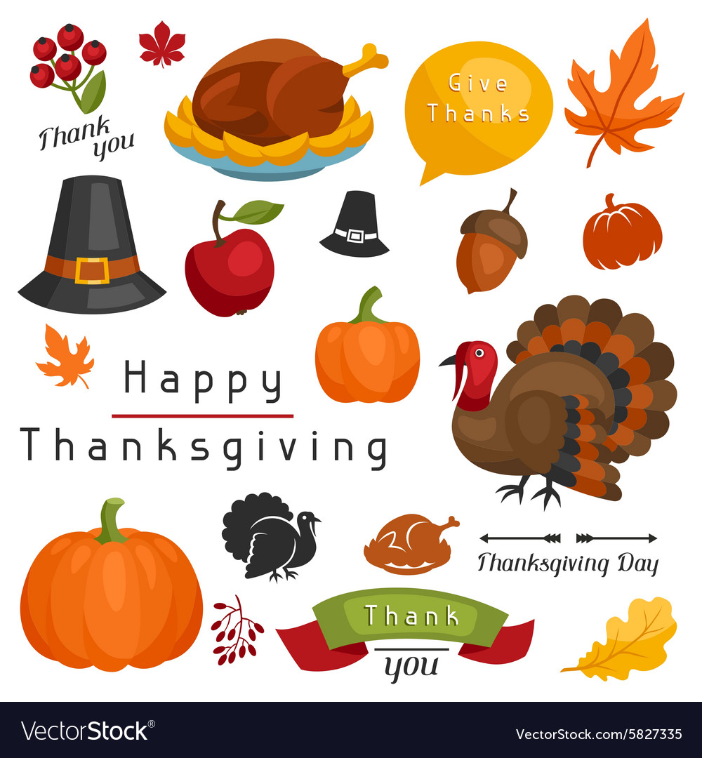 Set of Happy Thanksgiving Day holiday objects and