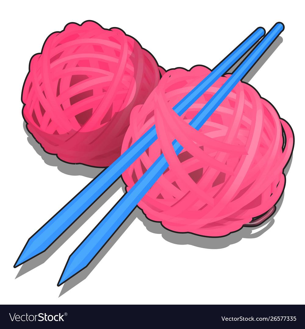 Set Pink Tangles Wool Yarn And Knitting Royalty Free Vector
