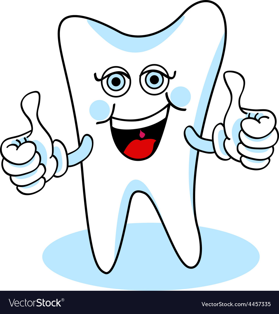 Two thumbs up cartoon tooth