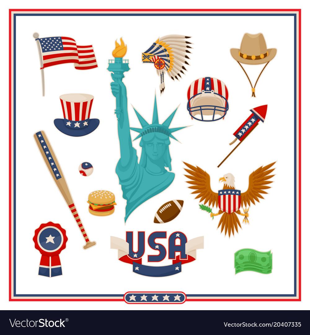 Usa country symbols isolated set
