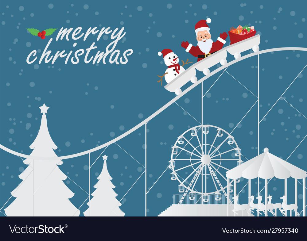 Christmas greeting card with christmas santa