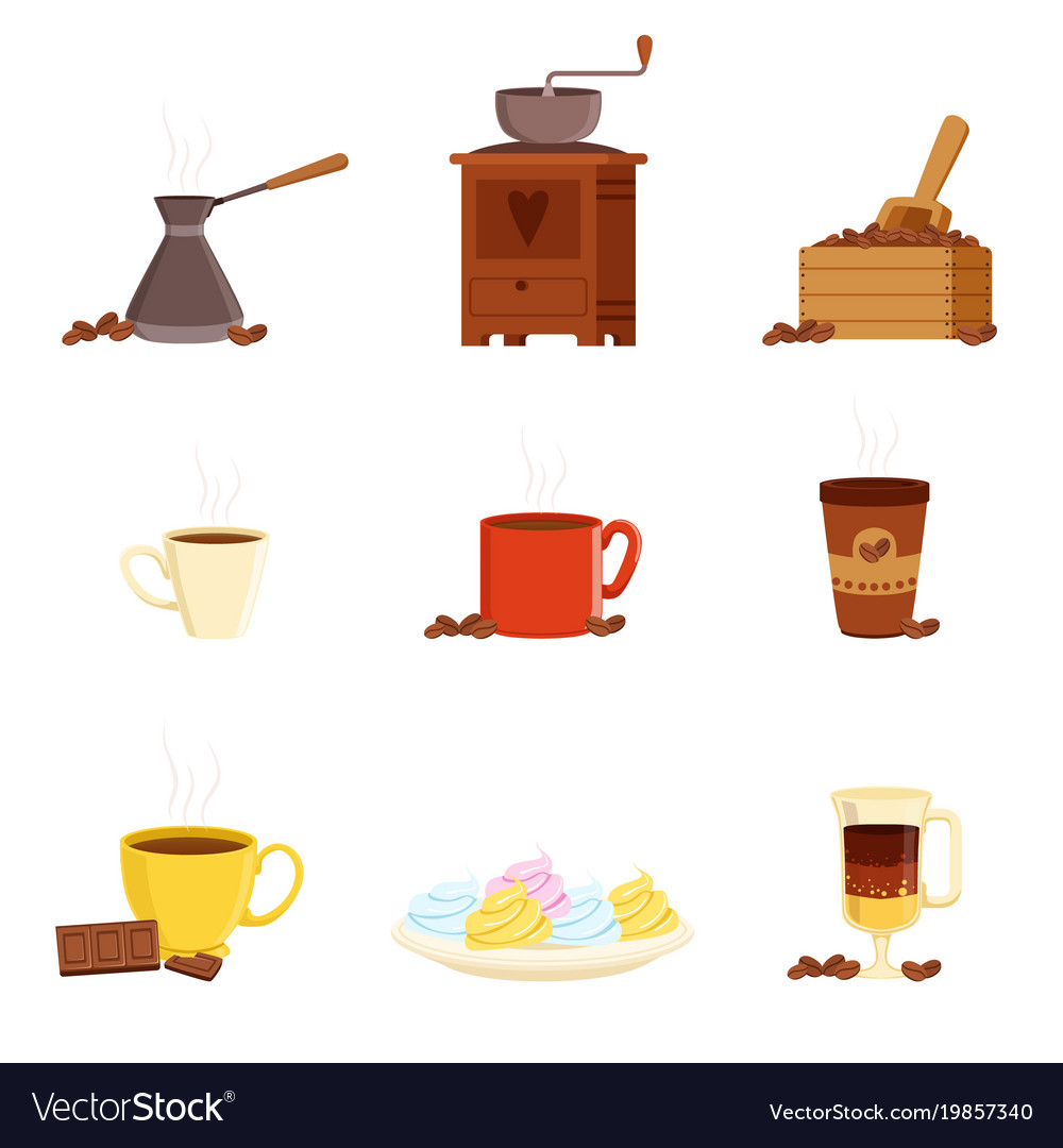 Coffee set various kitchen utensils for making