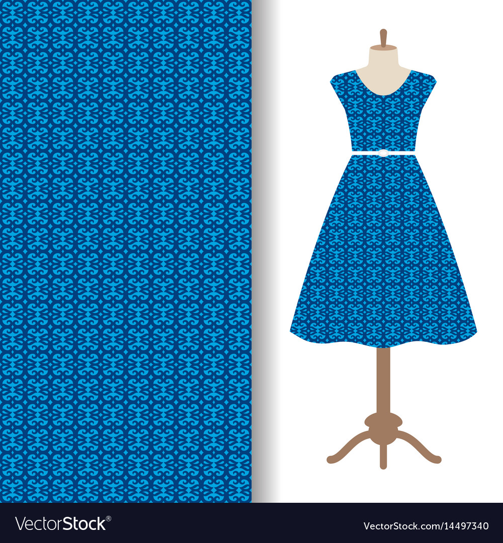 Dress fabric with blue arabic pattern