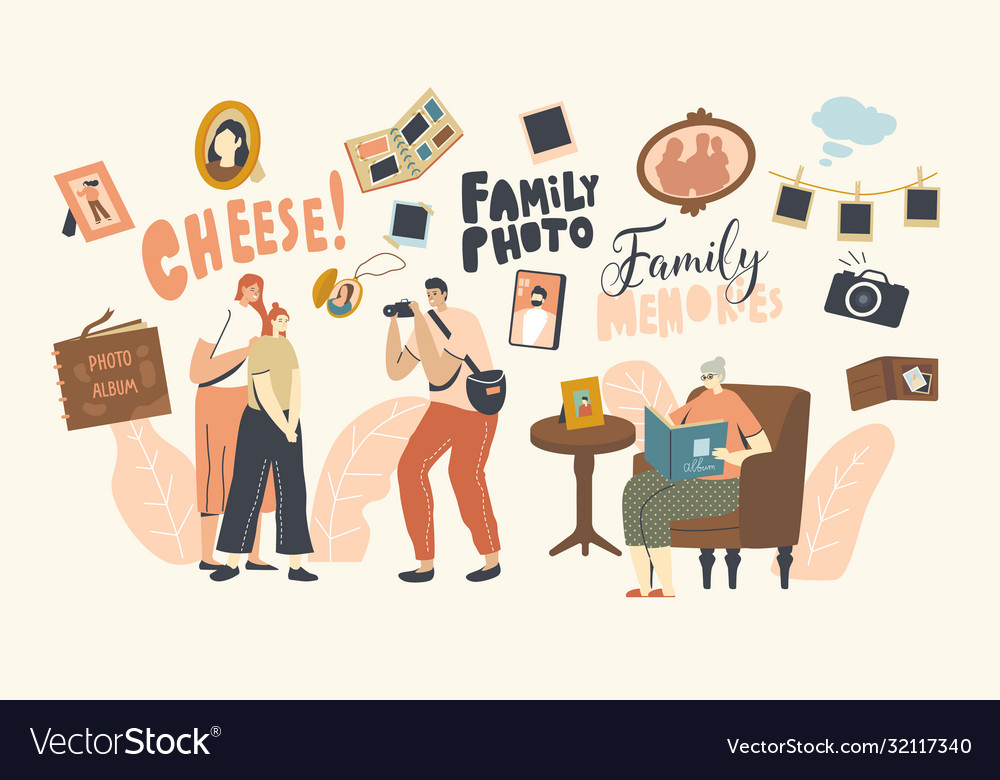 Family photo concept mother and daughter vector