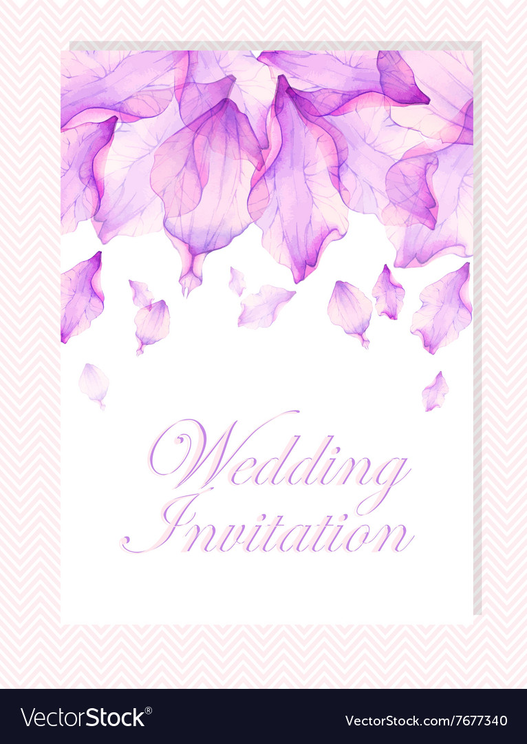 Invitation with Watercolor flower petals