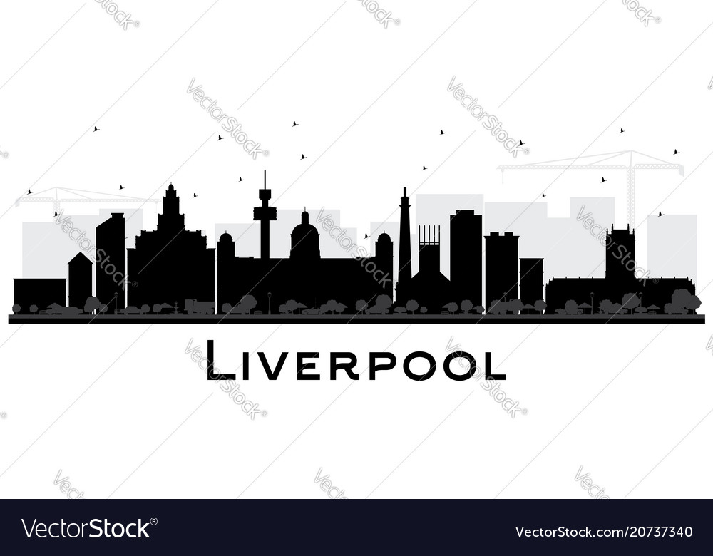 Liverpool city skyline silhouette with black