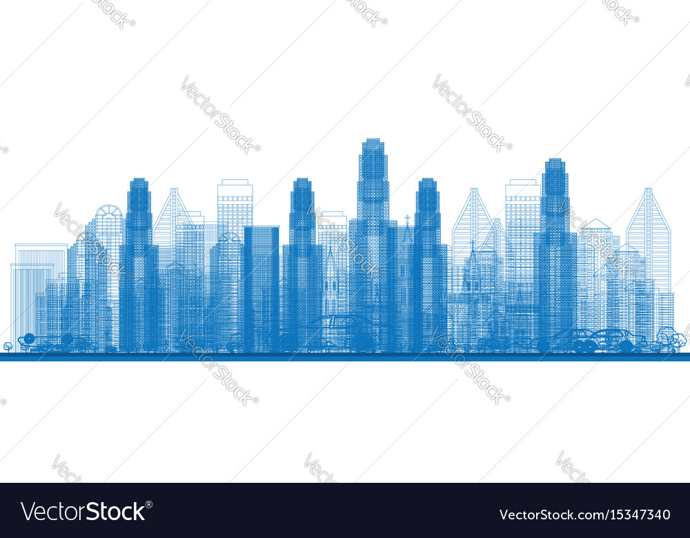 Outline skyline with city skyscrapers