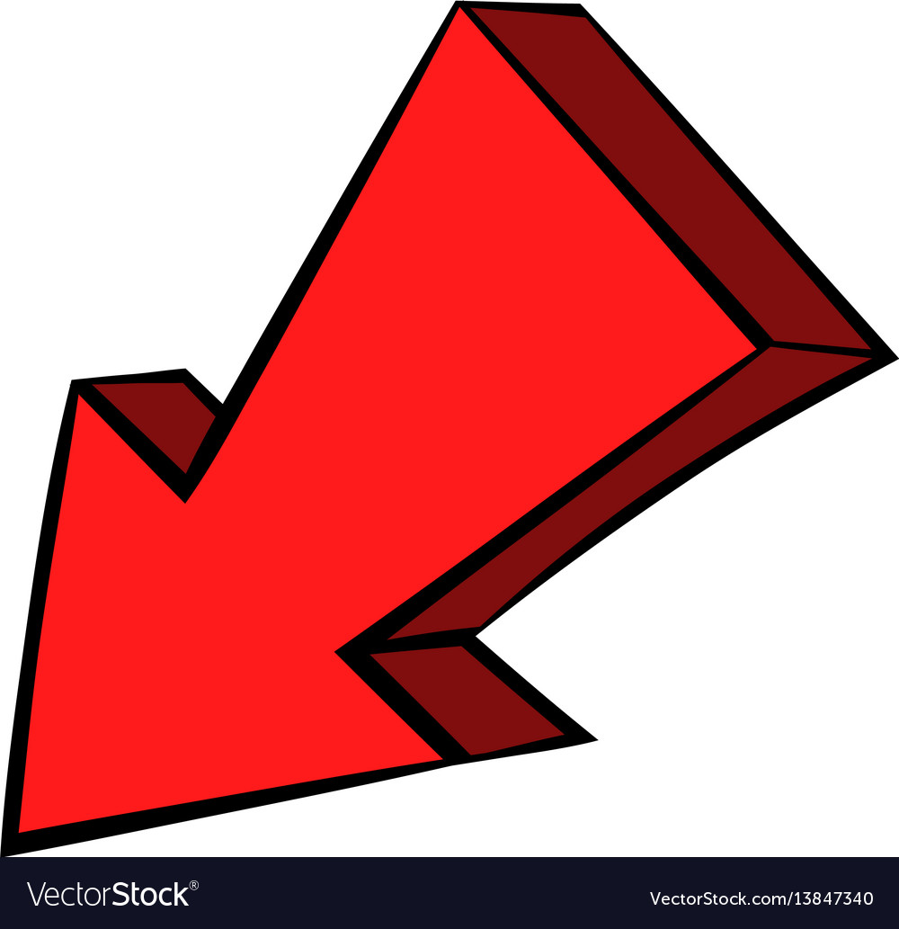 Red arrow cartoon. Left down icon