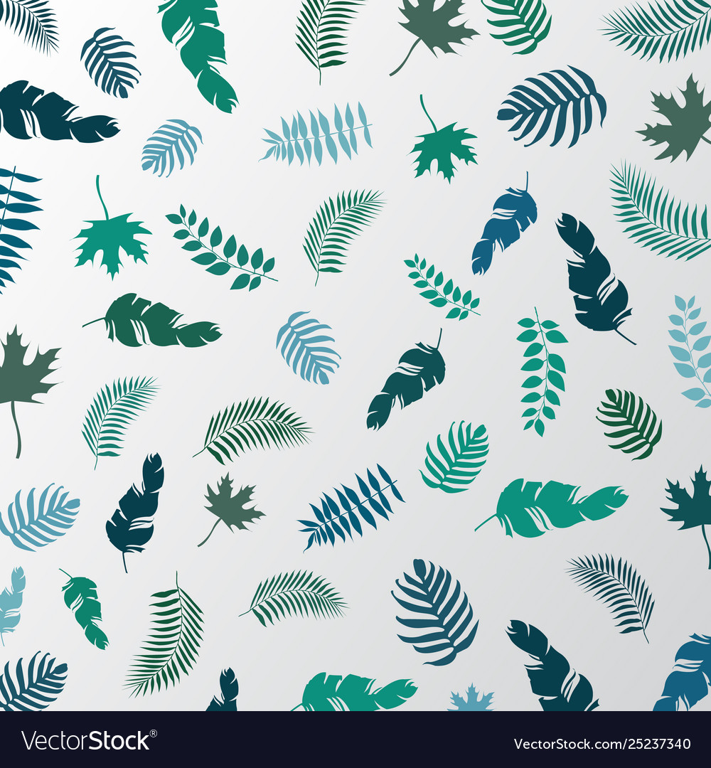 Summer tropical palm leaves green color pattern