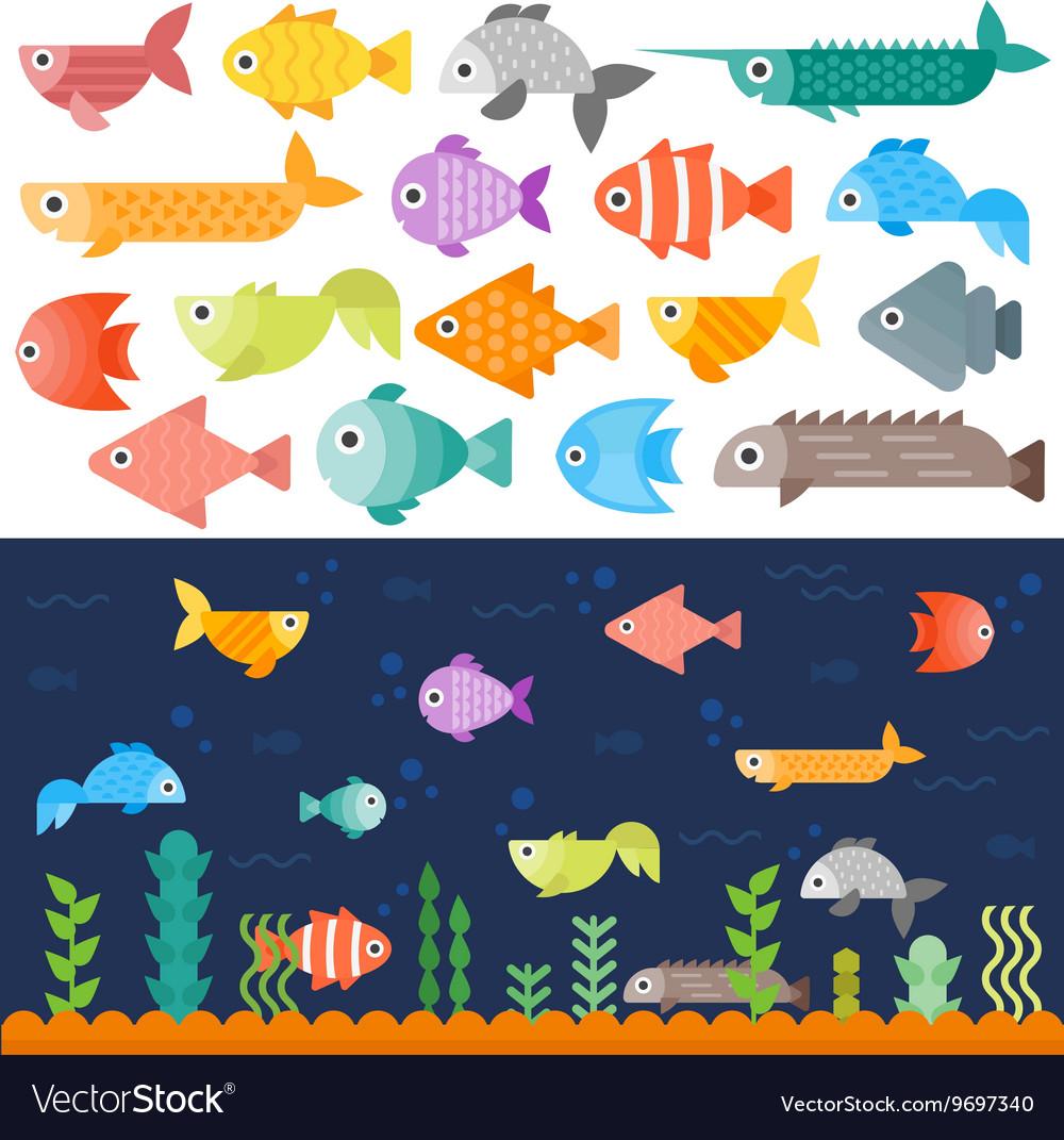 Underwater fishes set