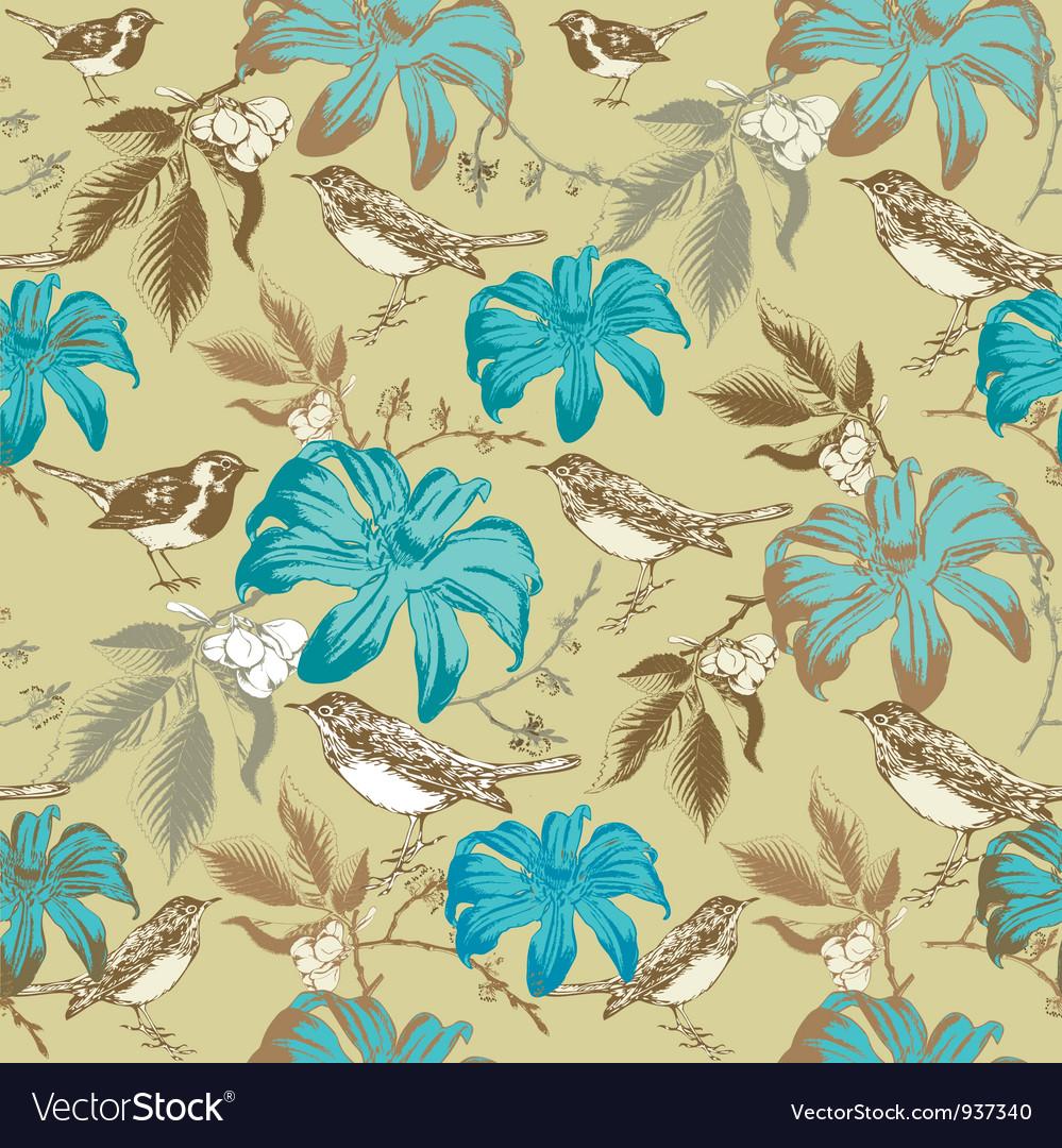 Vintage Floral Birds Pattern vector image