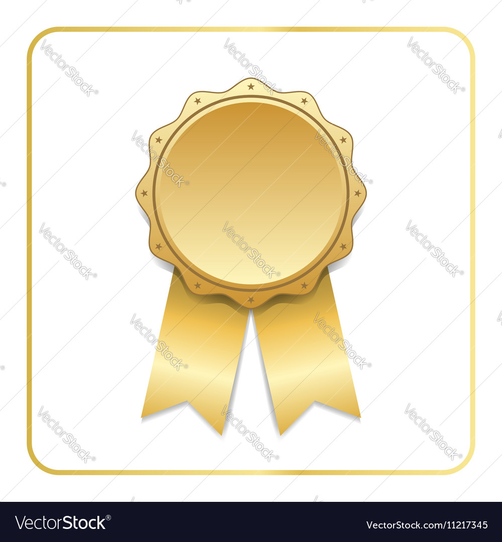 Award ribbon gold icon white vector image