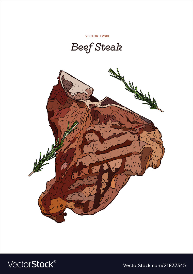 Beef steak hand draw sketch