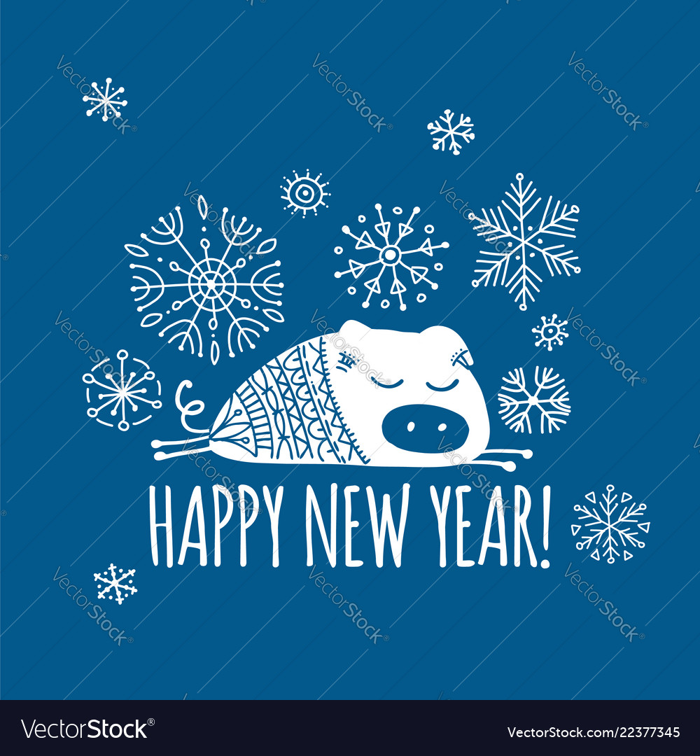 Christmas card with funny pig symbol of 2019 year Vector Image