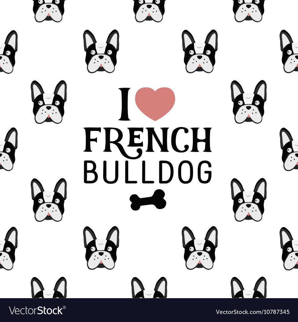 French Bulldog Seamless Pattern in Vintage Style