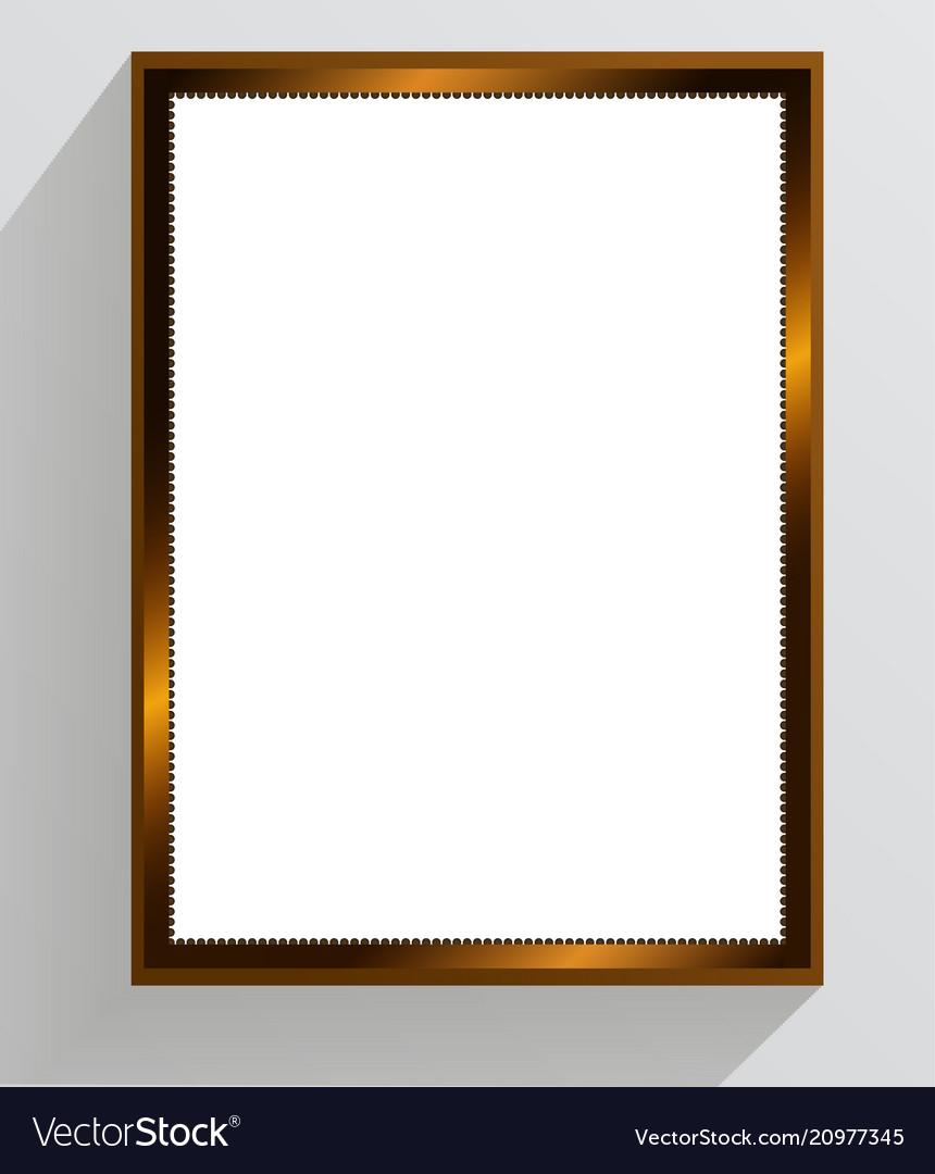 Golden vintage frame on a white background
