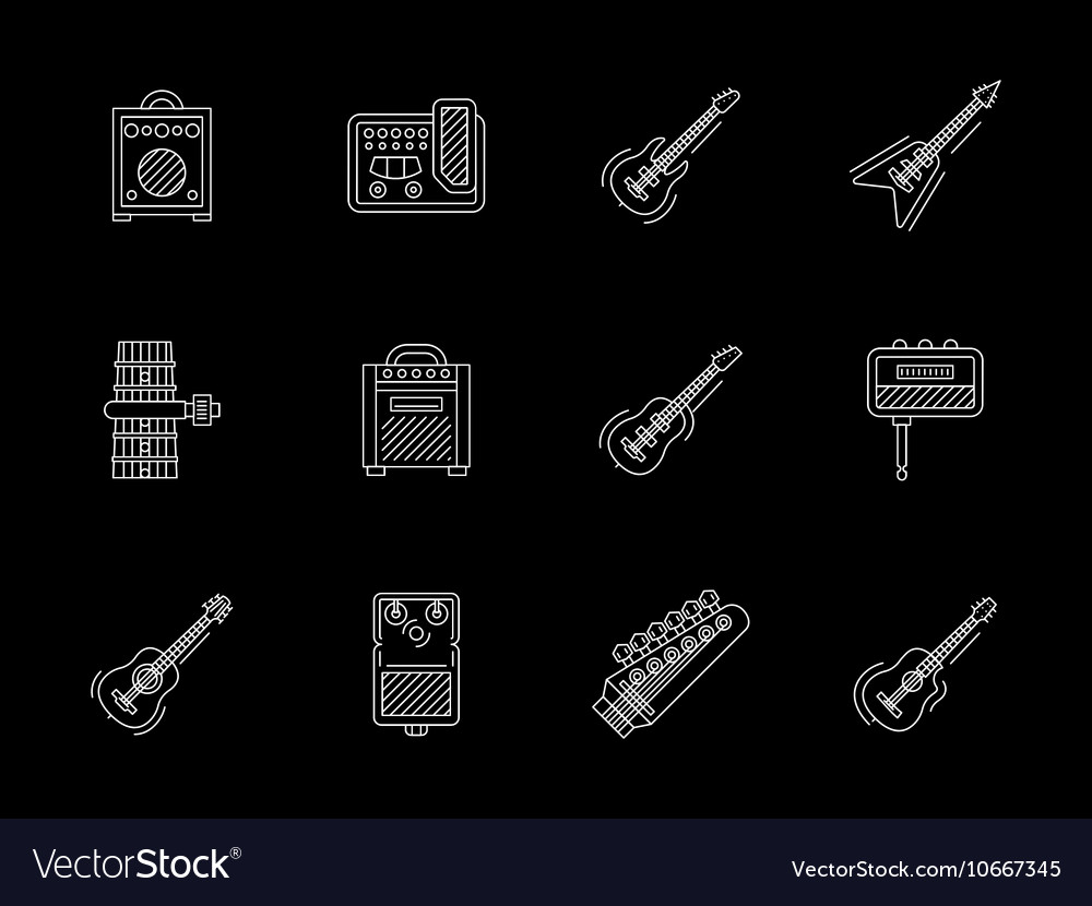 Guitars white line icons collection