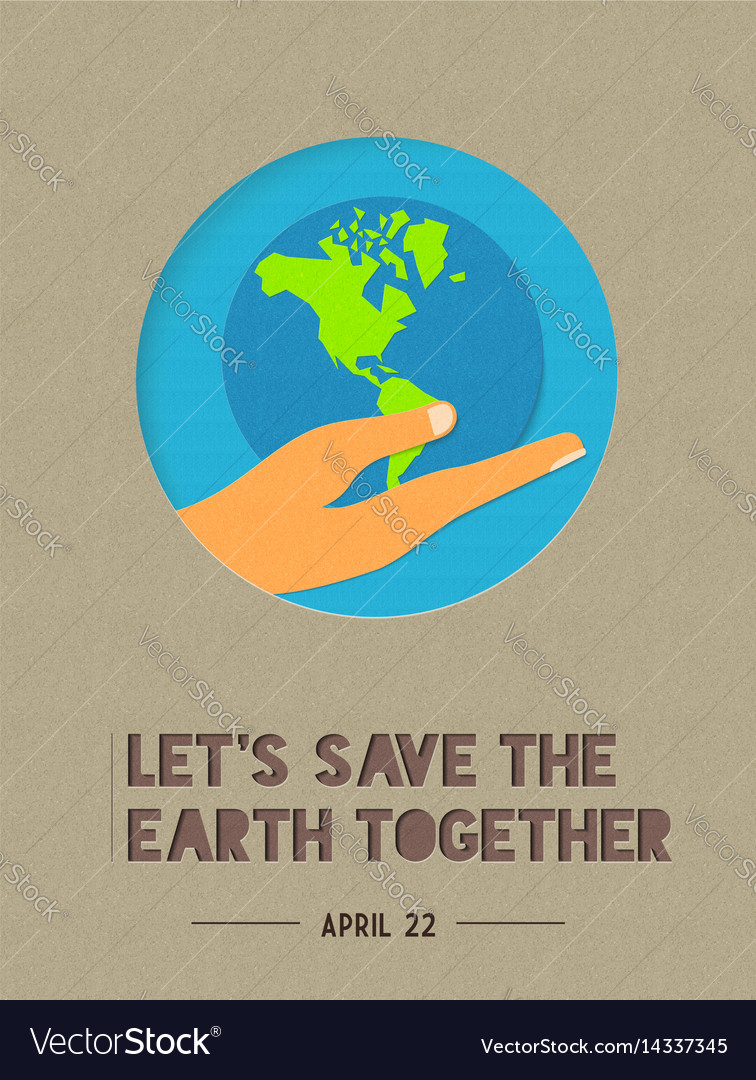 Happy earth day paper cut world quote