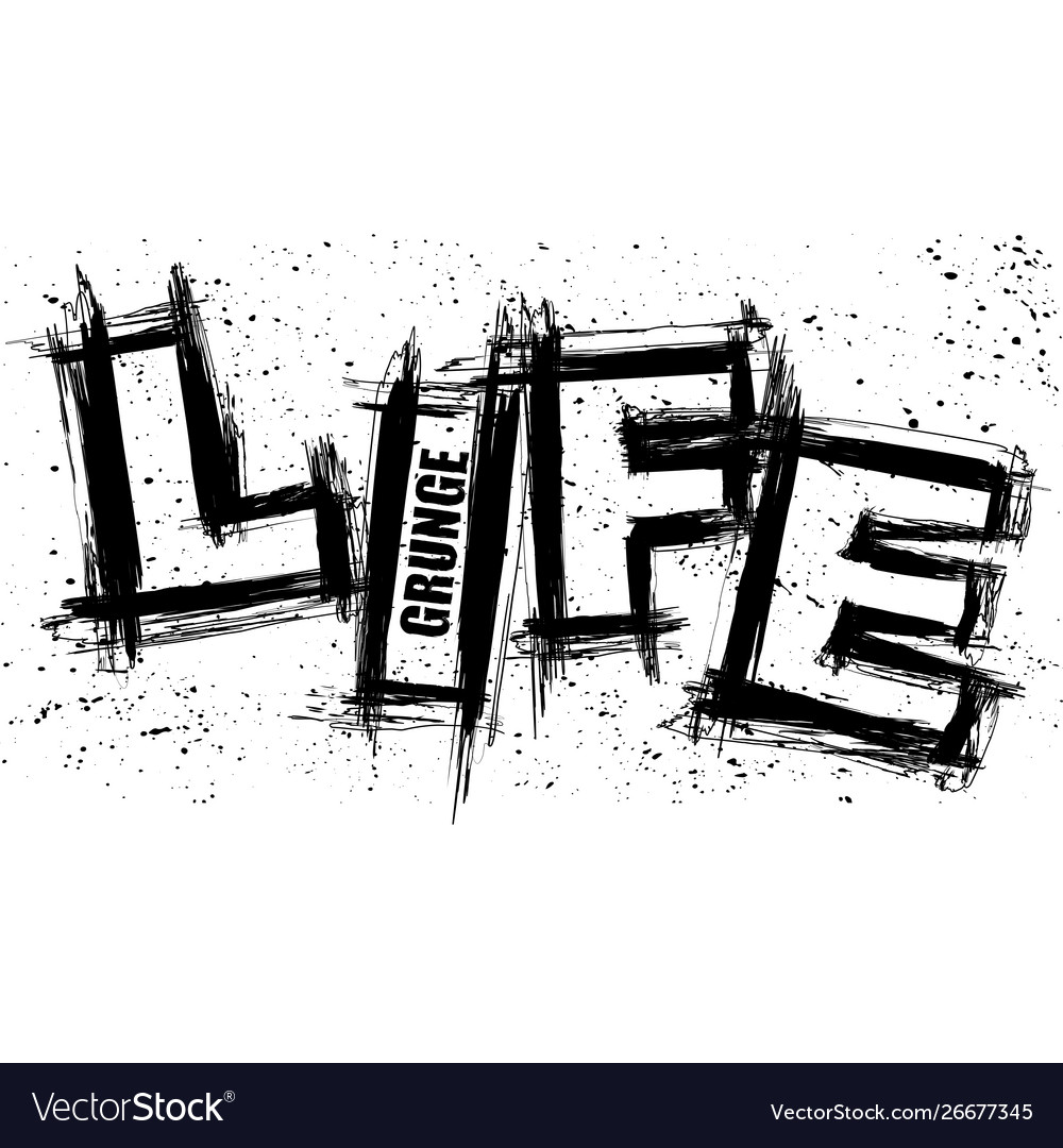 Life text grunge blots background