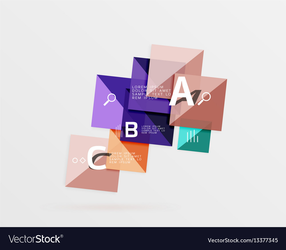 Modern flying square infographic vector image