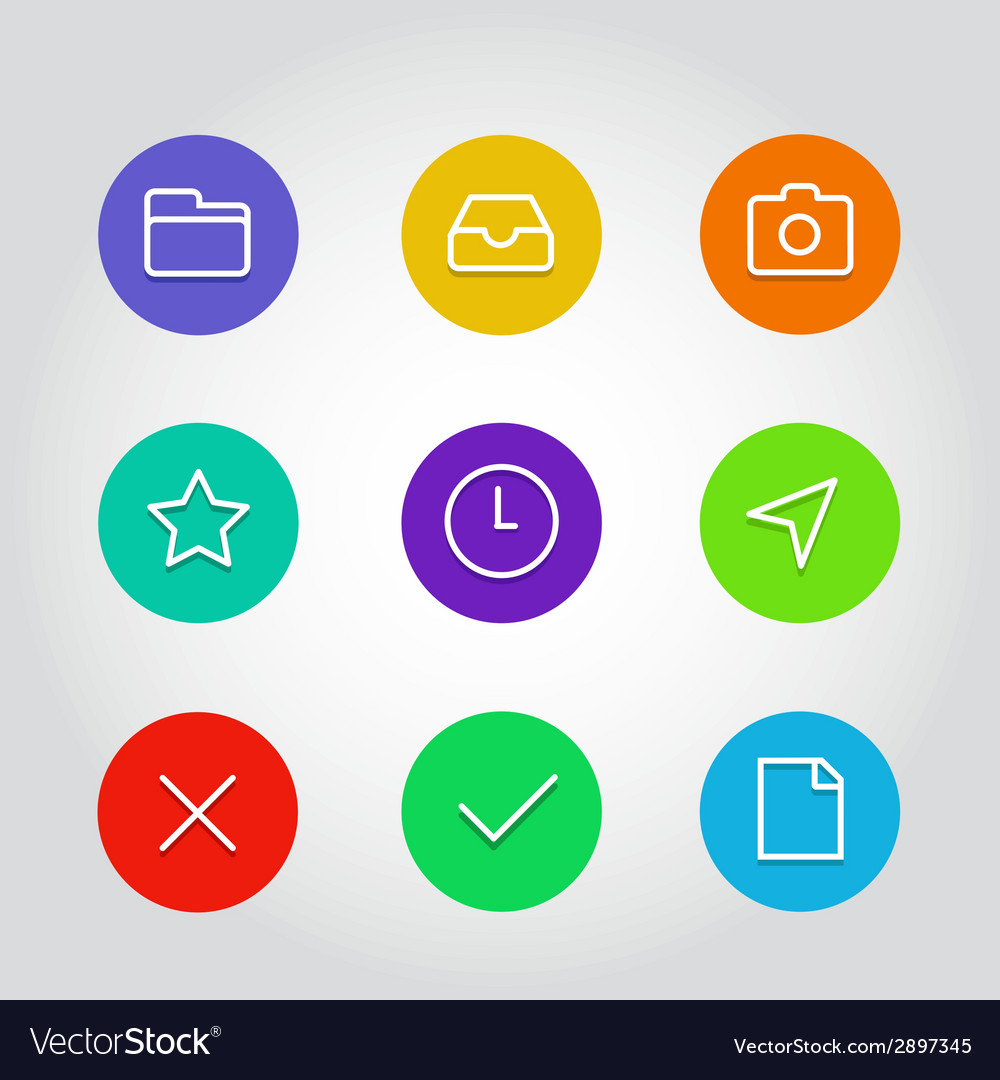 Outline icon set with clock arrow and navigation