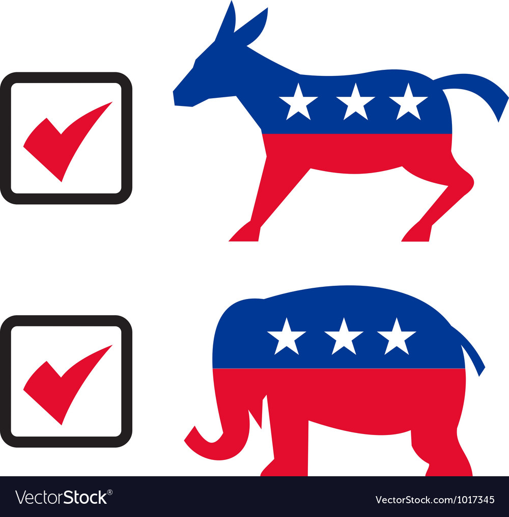 republican elephant democrat donkey election vector image rh vectorstock com republican elephant logo vector