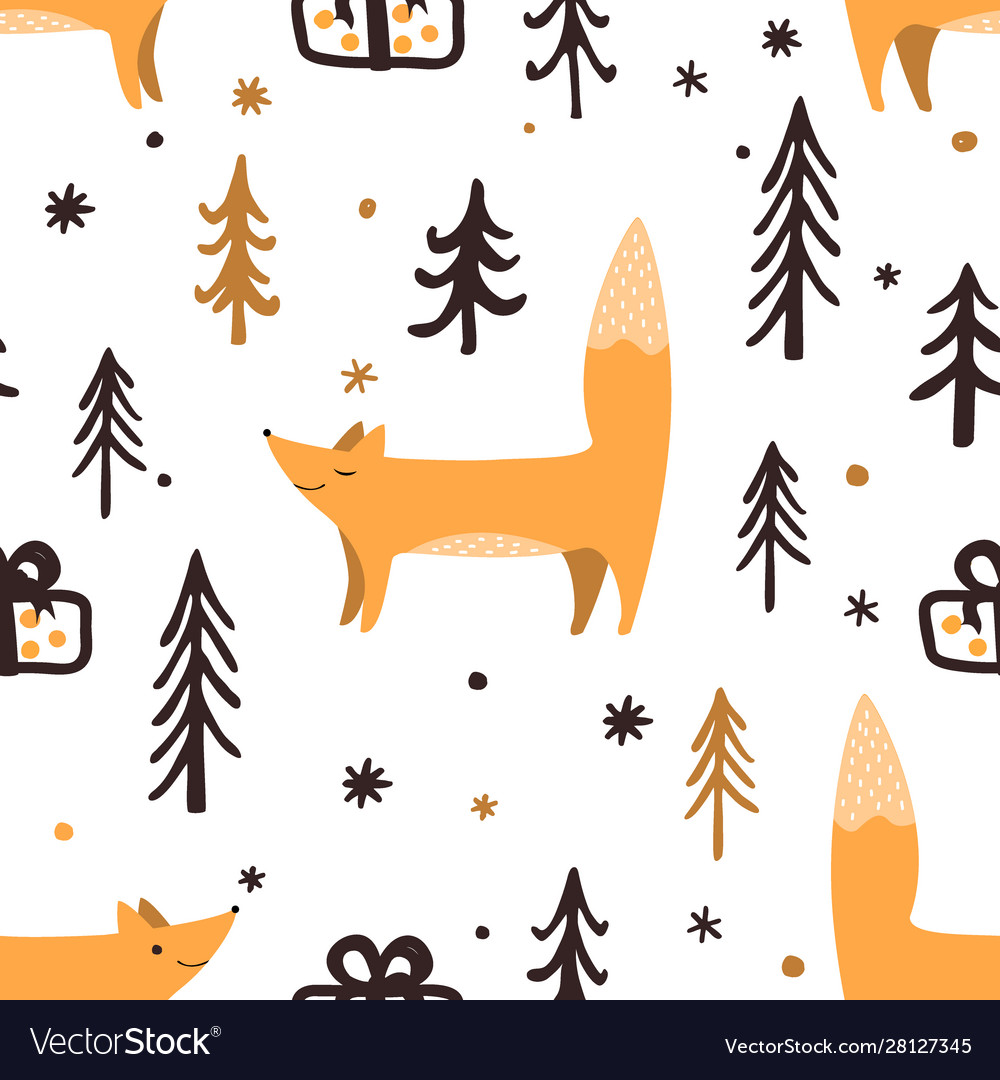 Seamless christmas pattern with forest trees