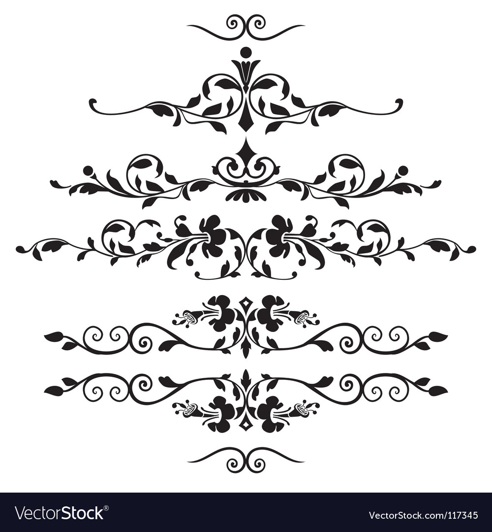 Set of floral ornaments