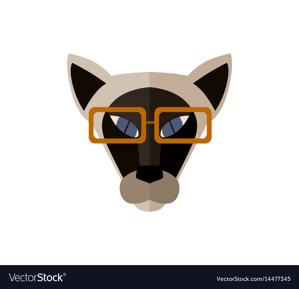 Sphinx cat head with glasses icon vector image
