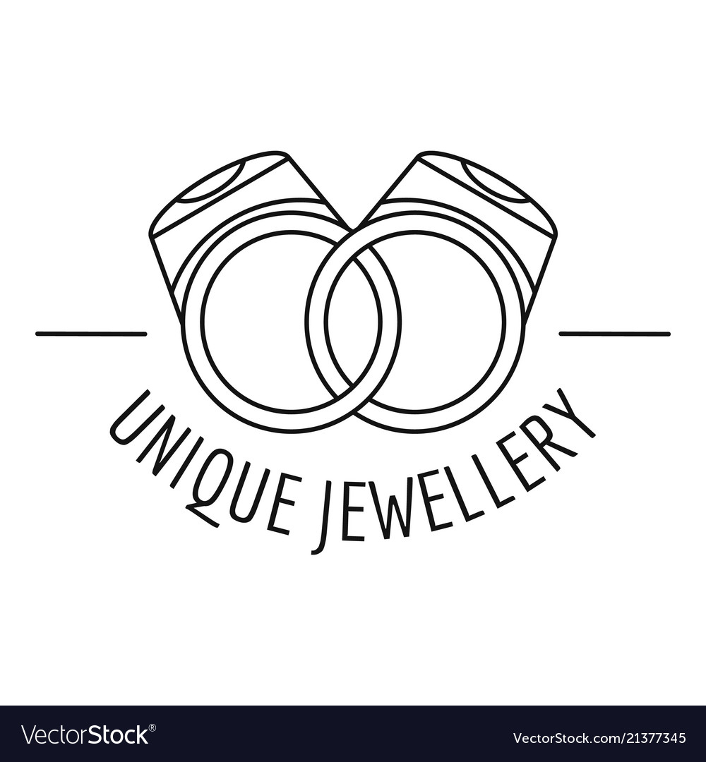 Unique rings jewellery logo outline style