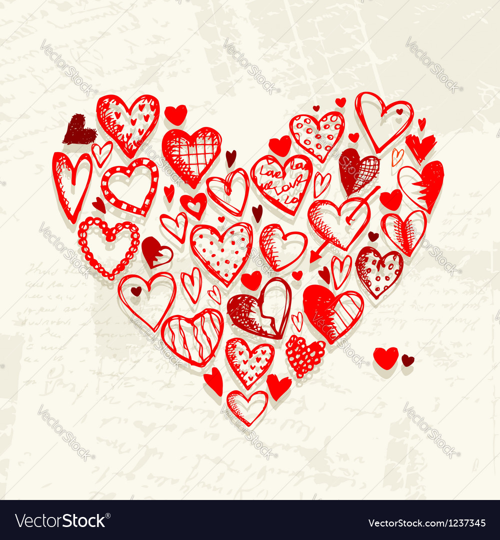 Valentine hearts on grunge background for your