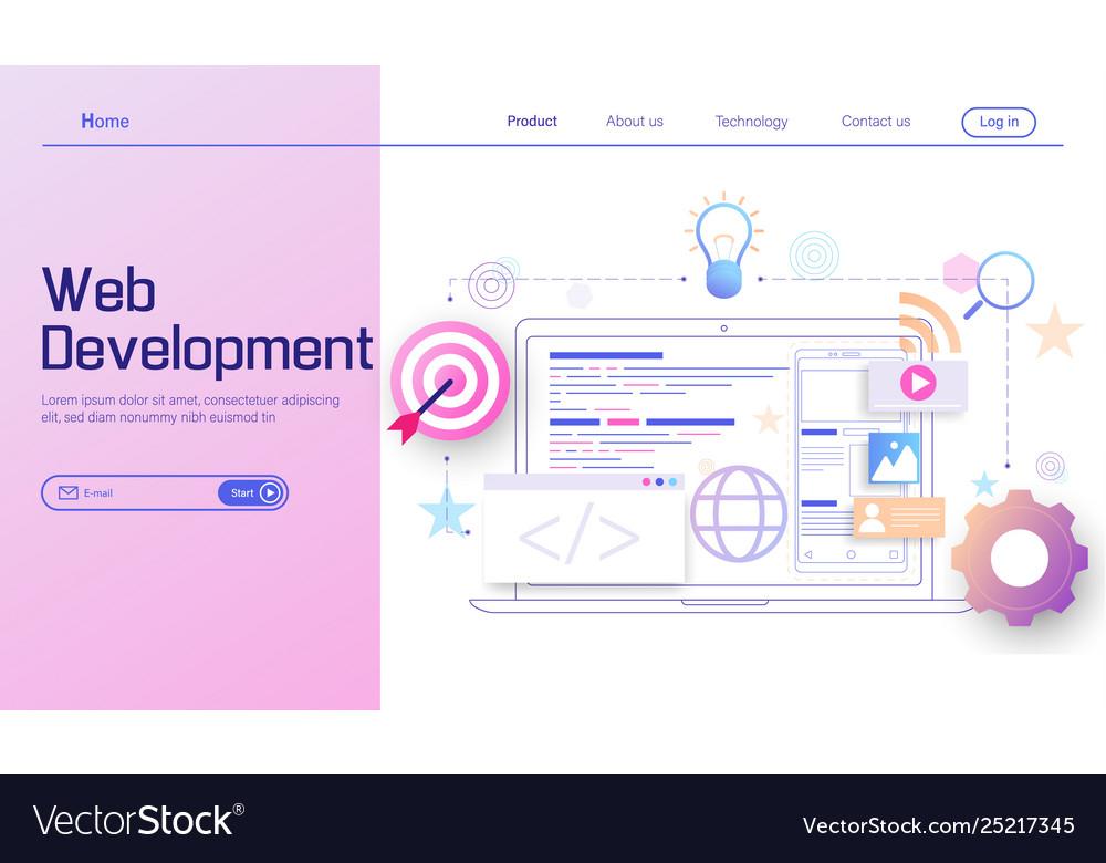 Web development modern flat design concept mobile