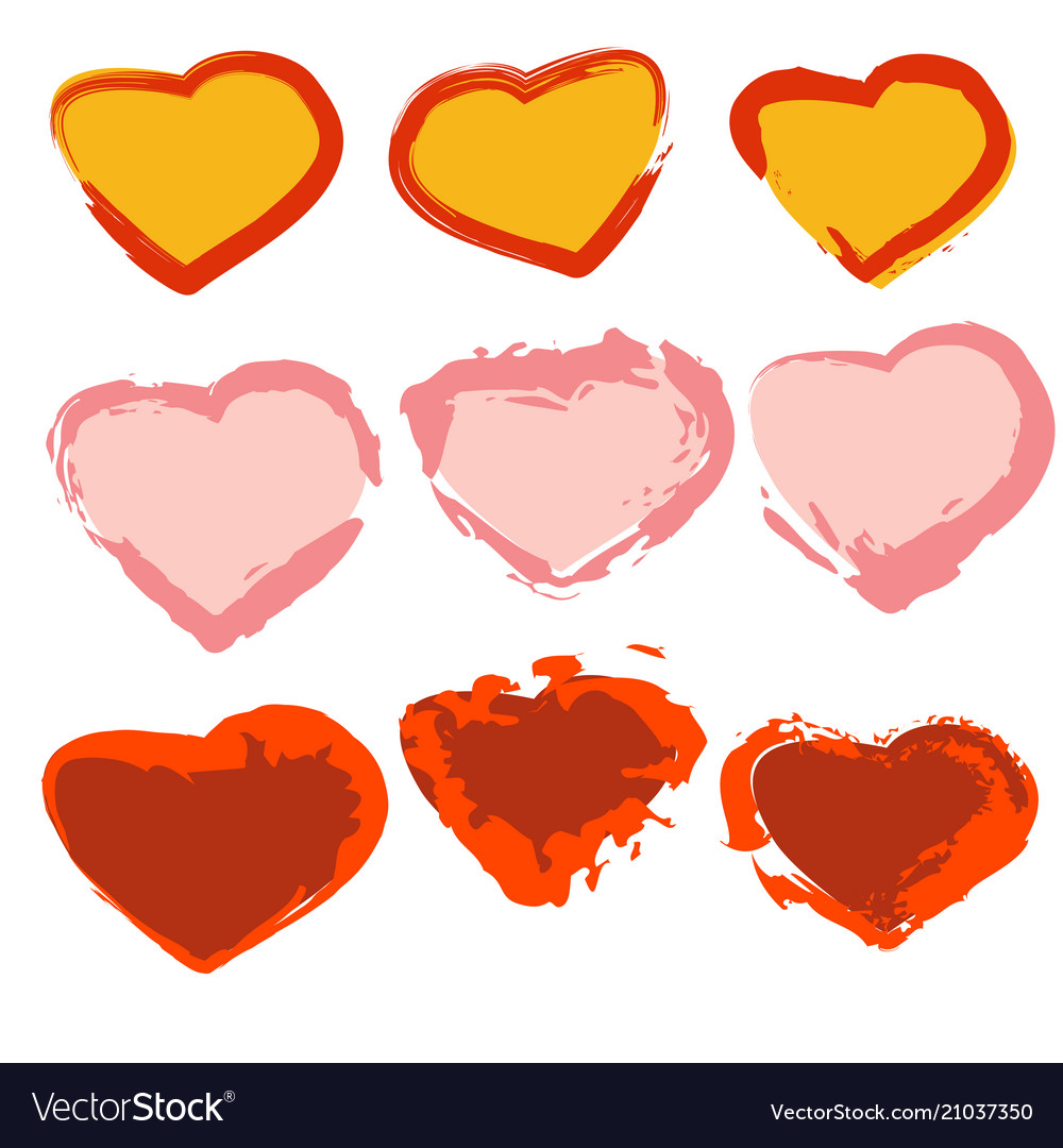 A set of painted hearts