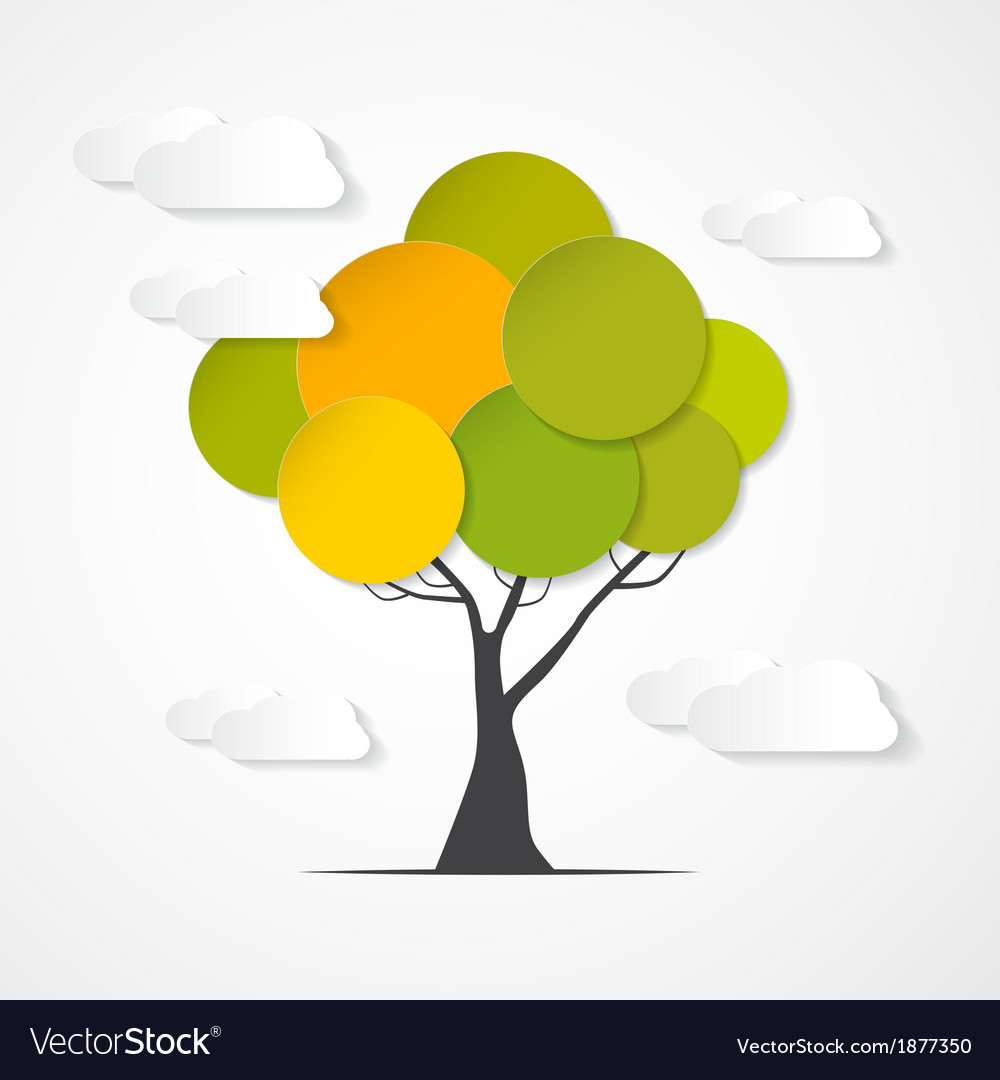 Abstract Paper Green Tree with Clouds