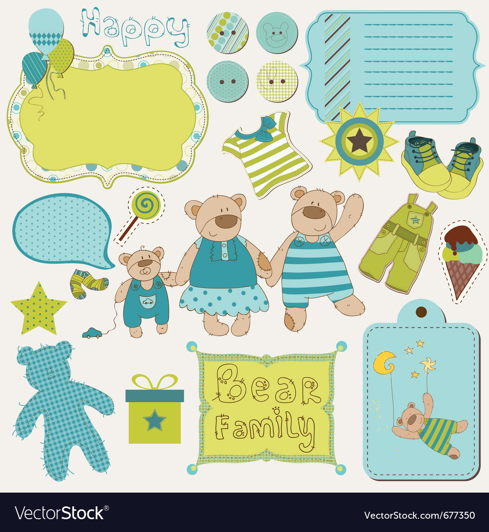 Bear family baby design elements