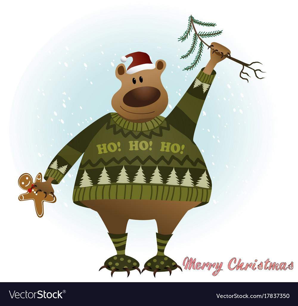 Christmas card with bear