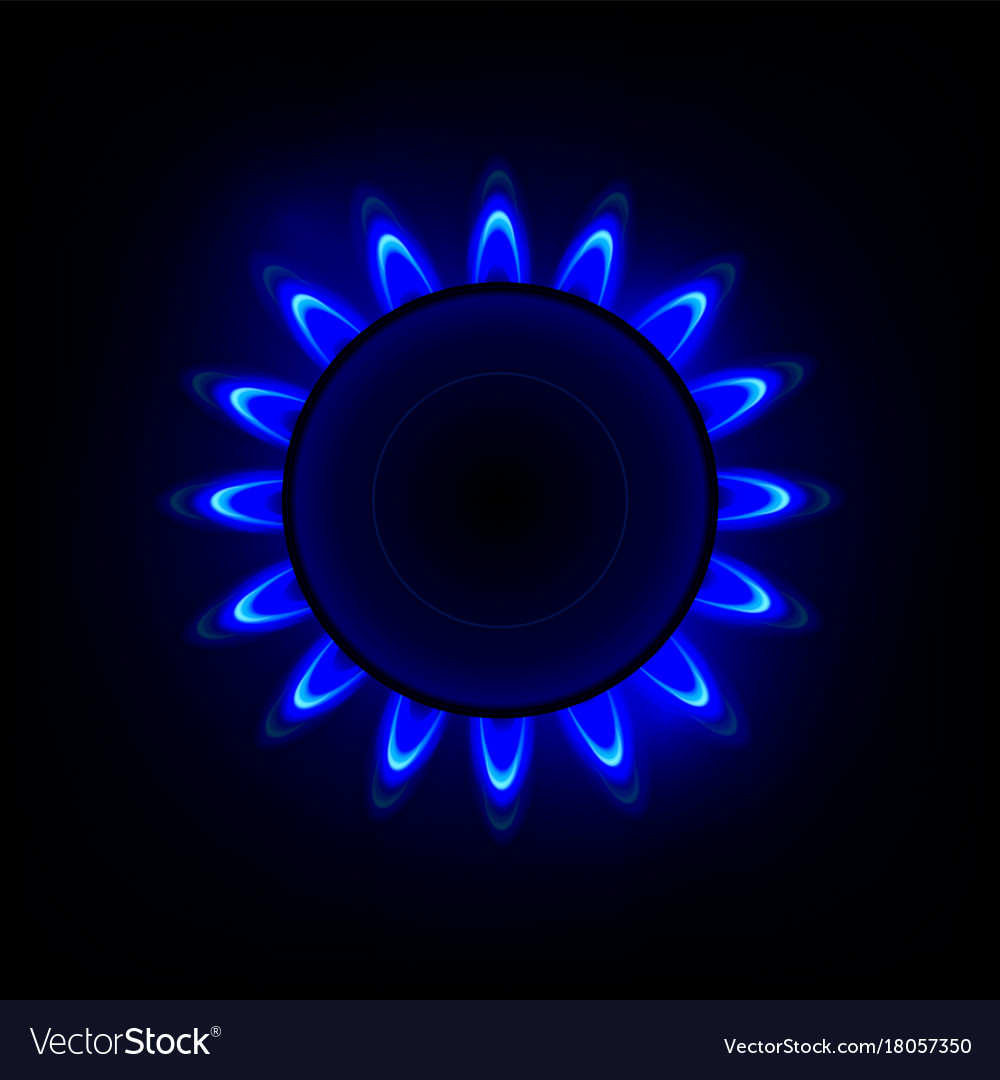 Gas flame with blue reflection background