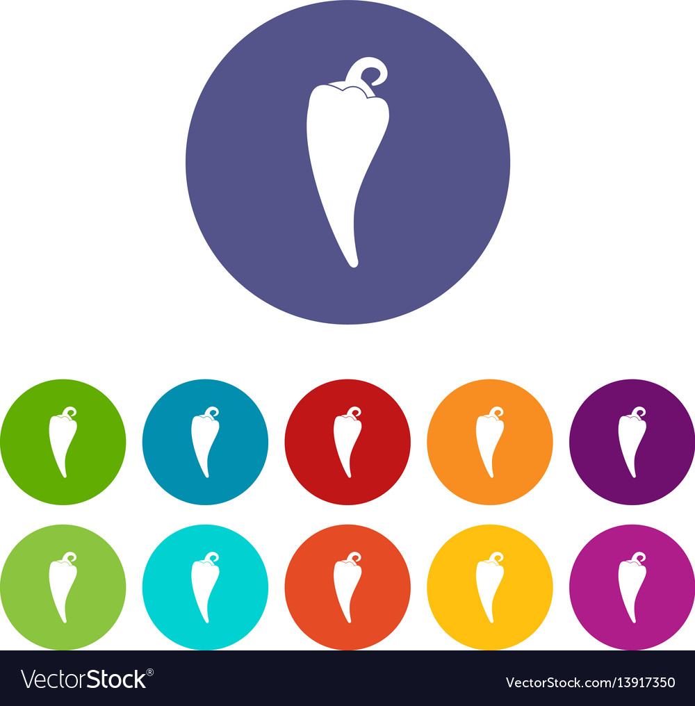 Hot chili pepper set icons vector image