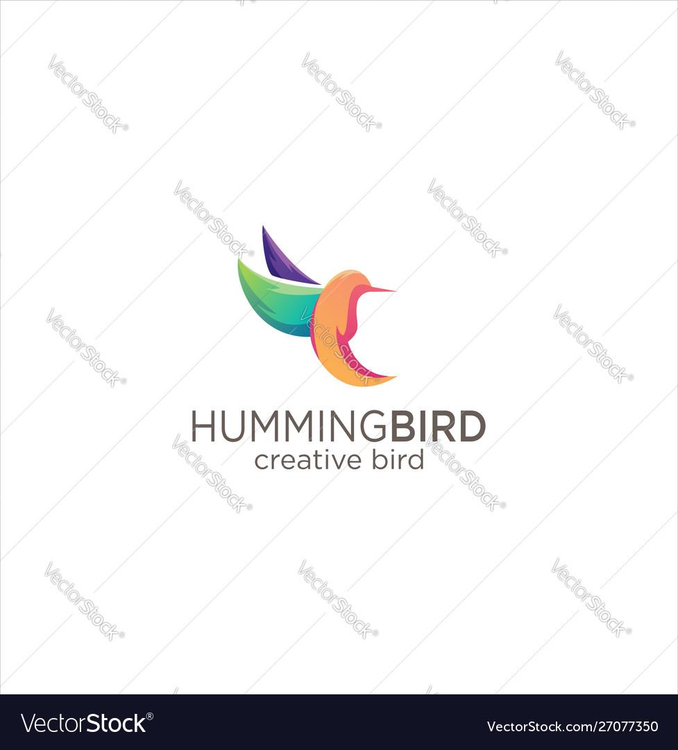 Humming bird logo design creative sign colorful vector image