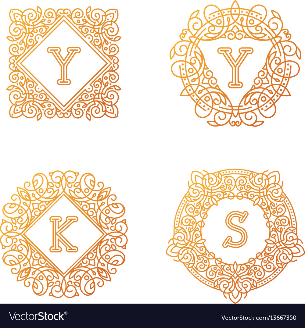 Monogram bage logo text letter vector image