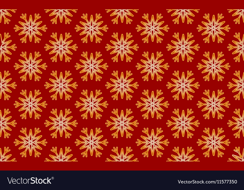 Seamless Pattern of Gold Snowflakes on a