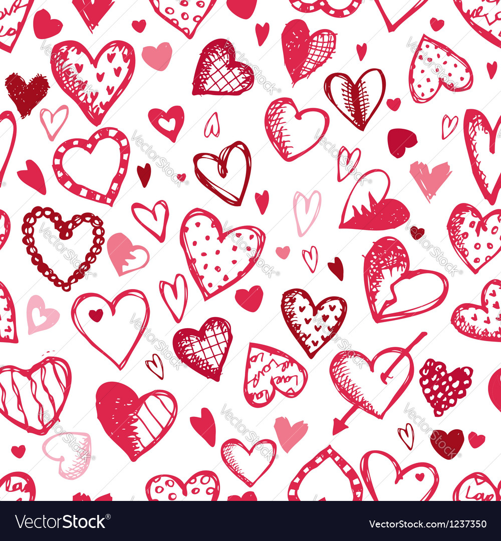 Seamless pattern with valentine hearts sketch