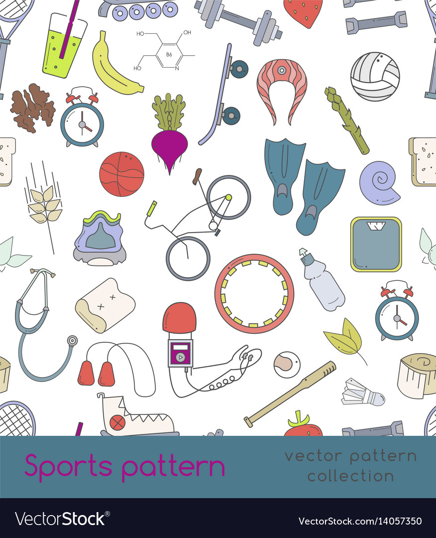 Sports seamless pattern of outline icons vector image