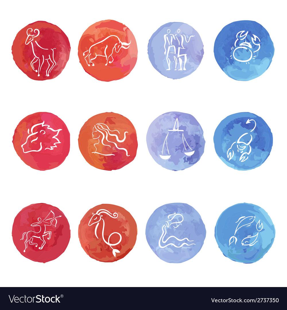 Watercolor zodiac set