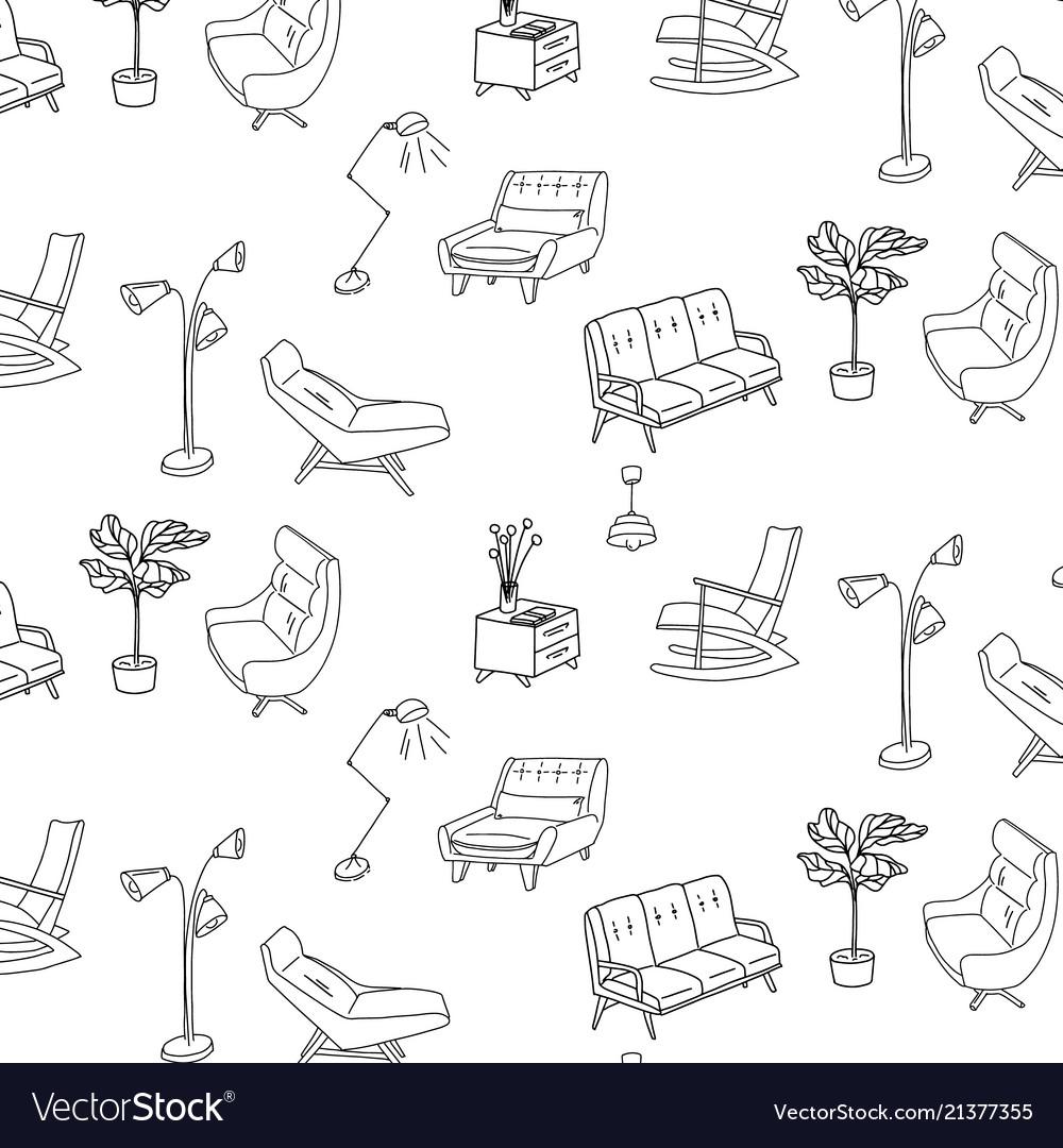 60s style furniture interior sketch pattern cute