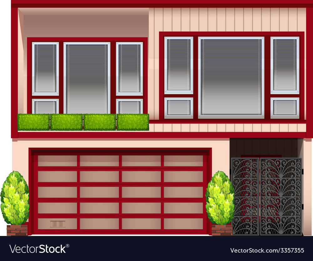 A building with red frames