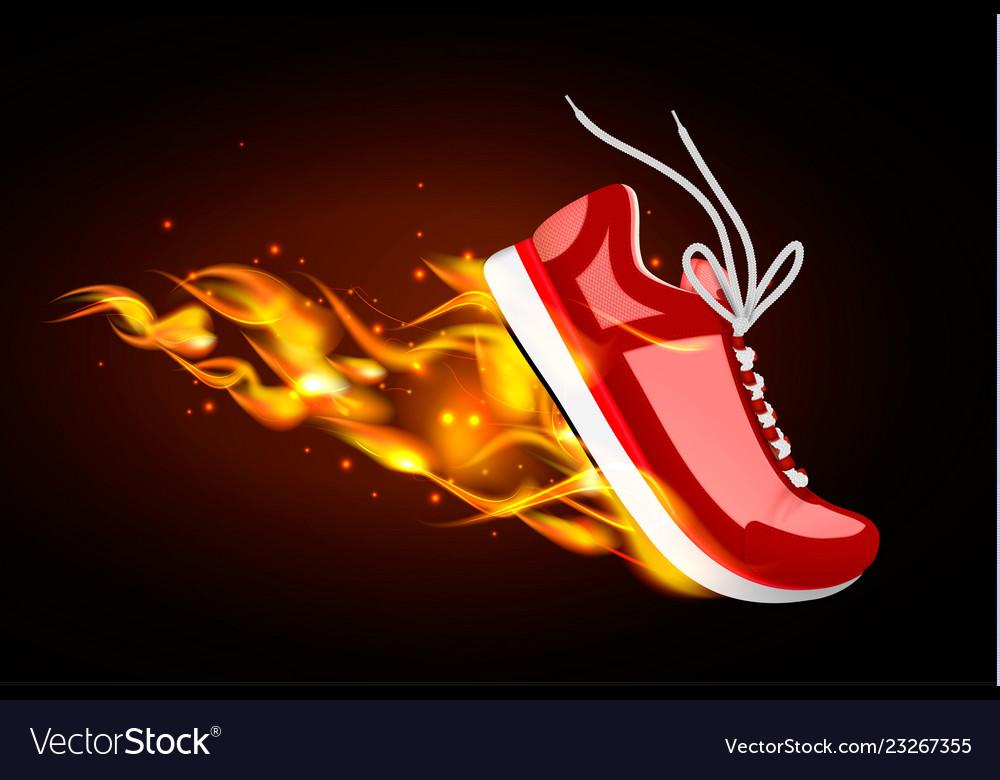 Burning red sneaker in dynamics Royalty