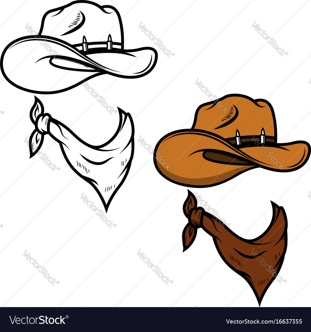 Cowboy hat and bandana isolated on white
